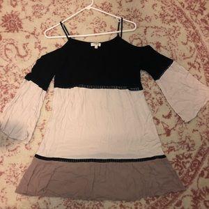 Tri-color Cold Shoulder Dress